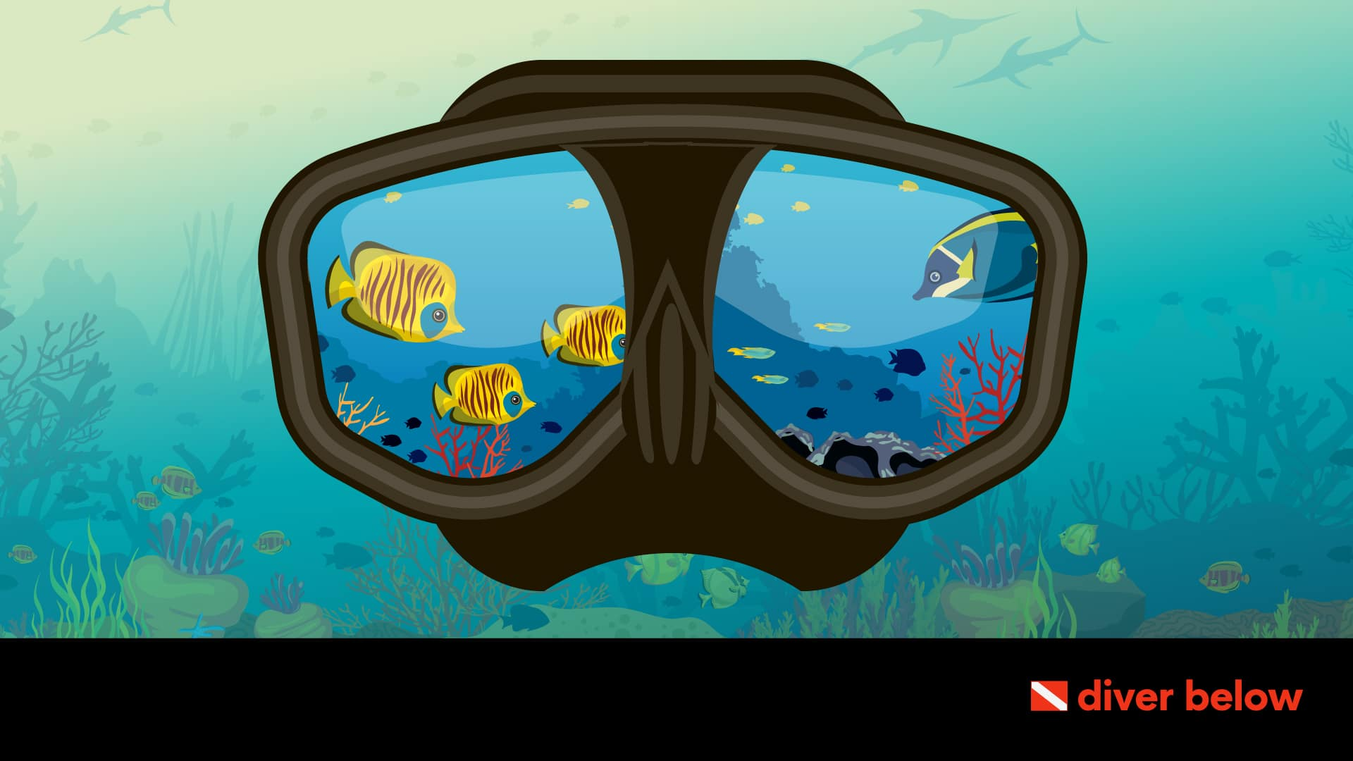 vector graphic showing a scuba mask underwater with fish swimming on the lenses
